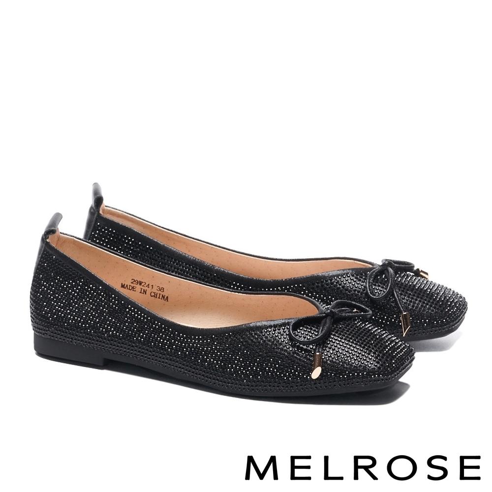 平底鞋 MELROSE 時髦閃耀水鑽蝴蝶結方頭平底鞋-黑