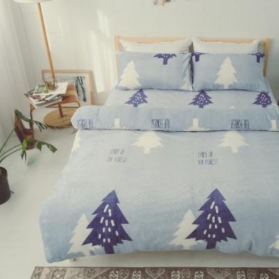 BUHO 極柔暖法蘭絨雙人床包三件組(北境森藍)