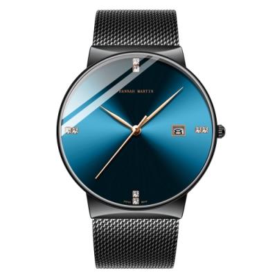 HANNAH MARTIN 靛青品雋鑲鑽刻度設計米蘭帶男錶-藍/40mm