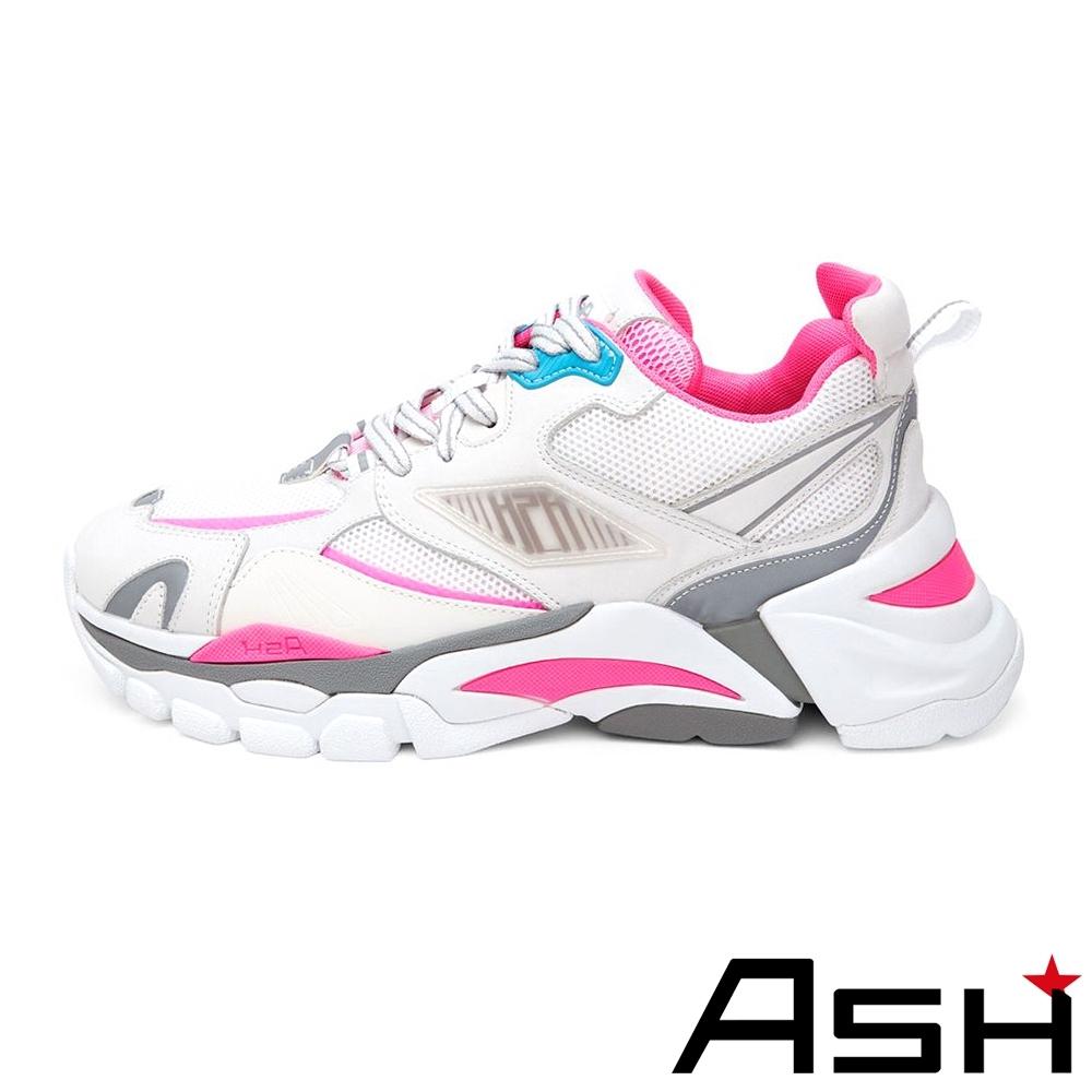 ASH-FLEX系列潮流休閒運動拼接撞色增高老爹鞋-粉