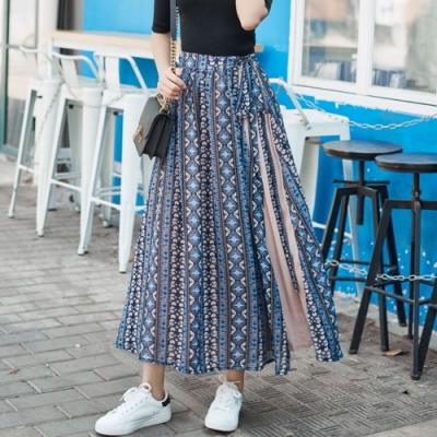 La Belleza鬆緊腰垂墬感側邊綁帶拼接百摺雪紡長裙