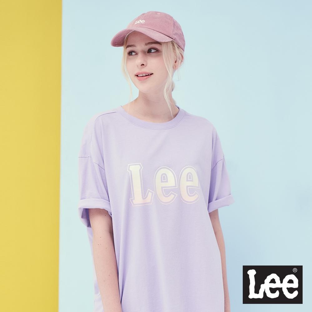 Lee 漸層大Logo寬版短袖圓領Tee恤 RG 女 粉紫色