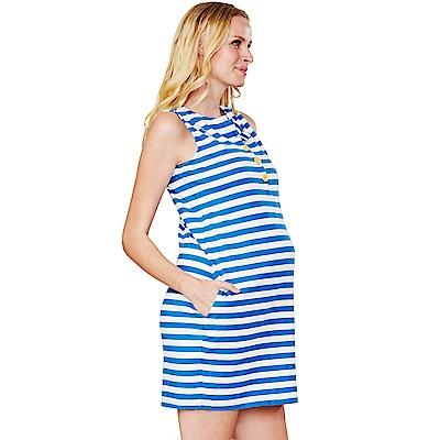 Mamaway 異色鈕扣條紋背心式孕婦.哺乳洋裝(共二色)