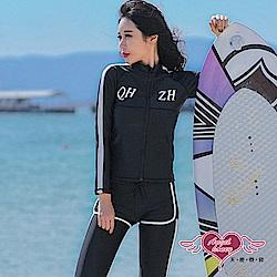 泳衣 率性自在 五件式水母衣防曬長袖泳裝(黑M~XL) AngelHoney天使霓裳