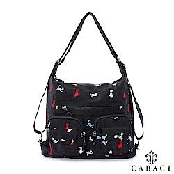 CABACI 淘氣小貓繡線肩背斜背後背三用包