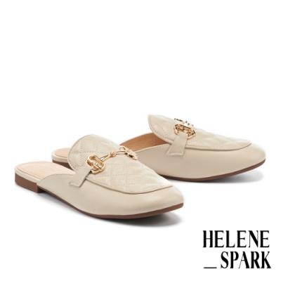 穆勒鞋 HELENE SPARK 文青時髦馬銜釦菱格紋羊皮平底穆勒拖鞋-米