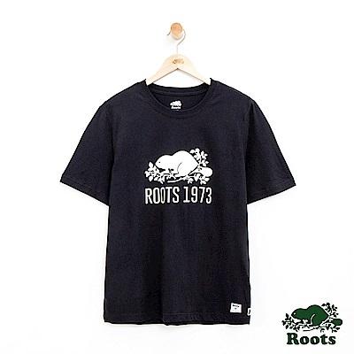 男裝Roots 前胸海狸短袖T恤-黑