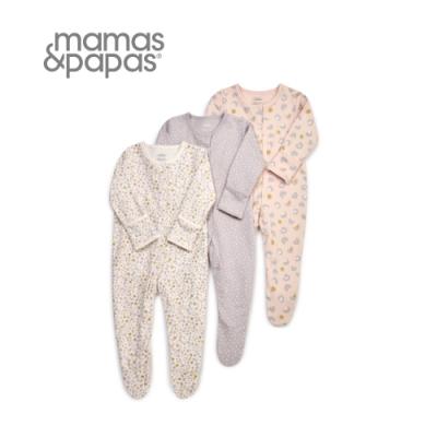 Mamas&Papas 薰衣草腳印-連身衣3件組