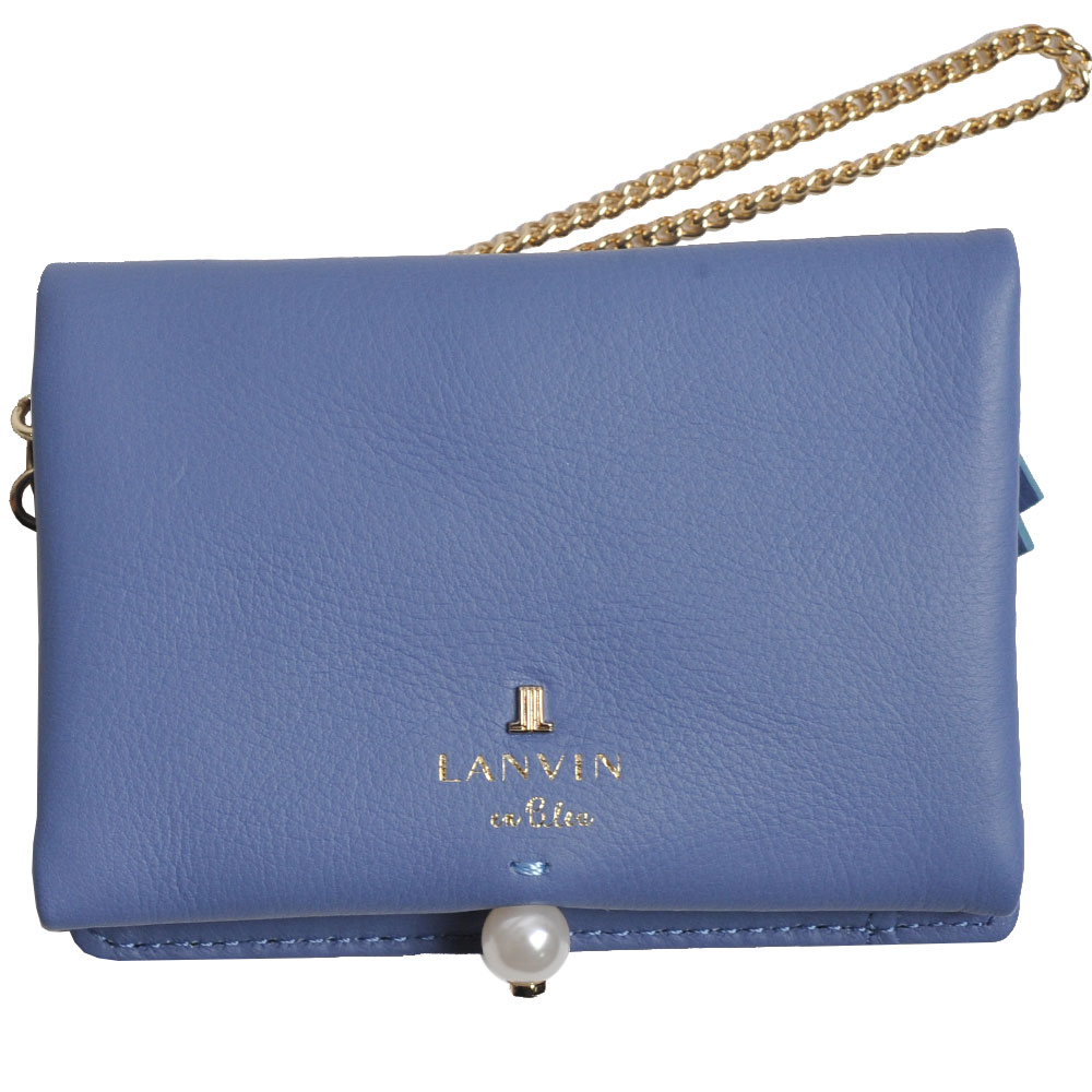 LANVIN en Bleu 品牌字母LOGO珍珠風造型卡片零錢夾(矢車菊藍)