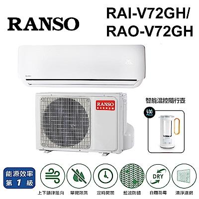 RANSO聯碩 10-12坪 1級變頻冷暖冷氣 RAI-V72GH/RAO-V72GH