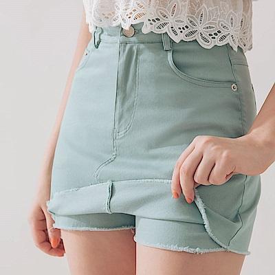 AIR SPACE 不收邊軟料顯瘦褲裙(粉綠)