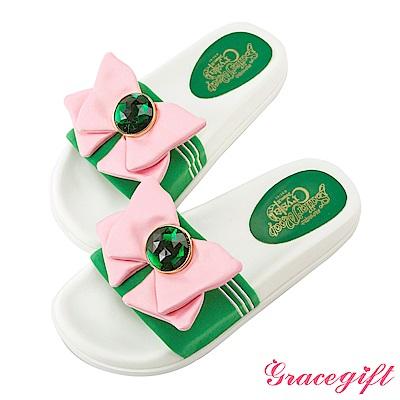 Grace gift-美少女戰士水手蝴蝶結休閒拖鞋 綠