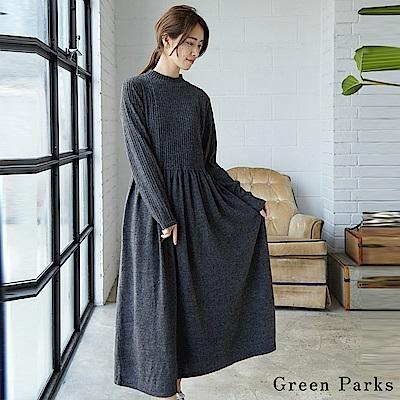 Green Parks 優雅打褶裙擺連身裙