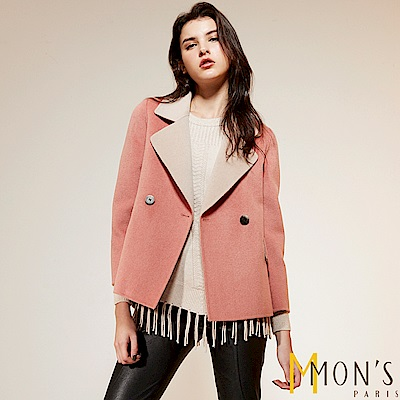 MONS 都會翻領拼接雙色排釦純羊毛外套/大衣