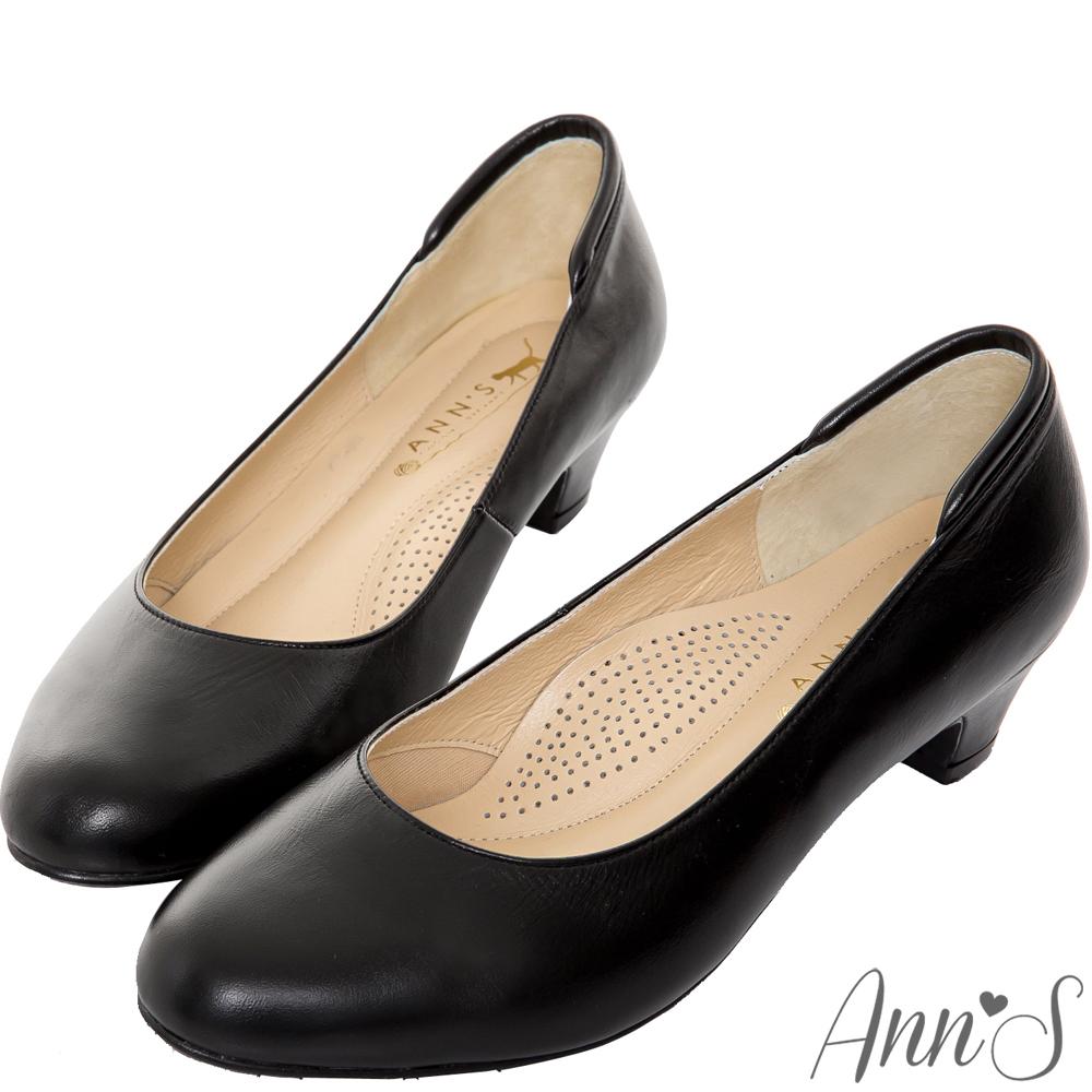 Ann'S通勤久站款全真羊皮低跟包鞋-黑