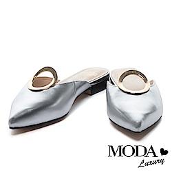 拖鞋 MODA Luxury 摩登簡約圓釦造型尖頭低跟拖鞋-銀