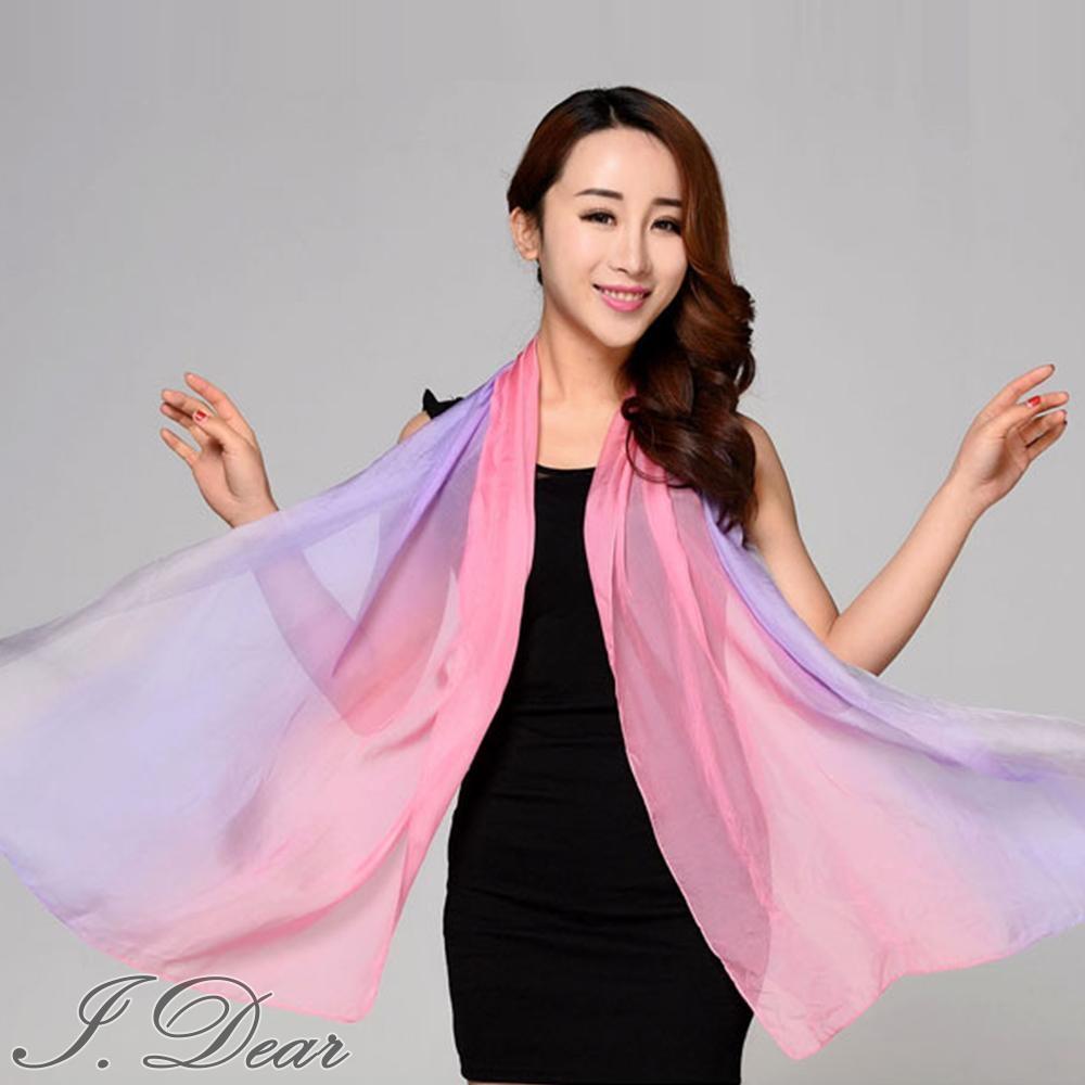 I.Dear-100%蠶絲頂級真絲素色漸層披肩/絲巾(撞色灰紅紫)