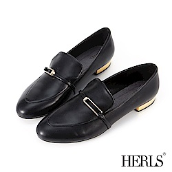 HERLS 摩登雅緻 內真皮方釦橫帶樂福鞋-黑色