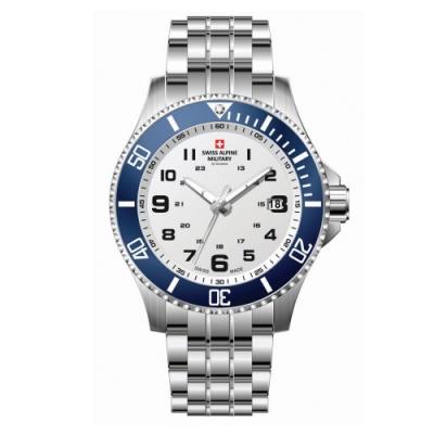 阿爾卑斯軍錶S.A.M 紅色警戒系列潛將-海洋藍/不鏽鋼鍊帶/43mm