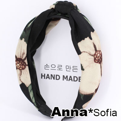 【滿額再7折】AnnaSofia 夜蔓花璇織轉結 韓式寬髮箍(黑系)