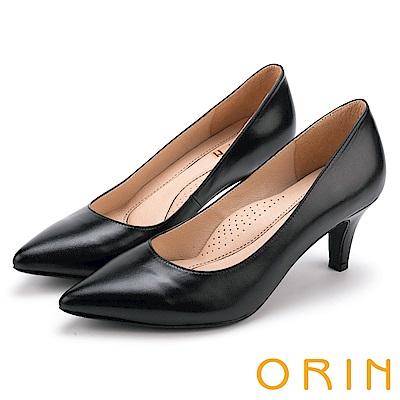 ORIN 典雅名媛 簡約剪裁真皮素面尖頭高跟鞋-黑色