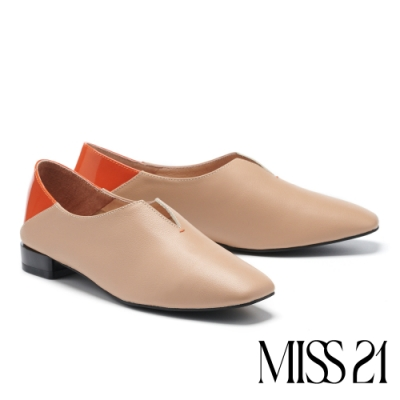 低跟鞋 MISS 21 玩味小文青拼接設計真皮方頭低跟鞋-棕