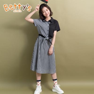 betty's貝蒂思 格紋拼接縮腰洋裝(黑色)