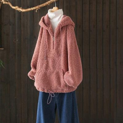 單色羊羔絨半開襟仿麂皮連帽衛衣寬鬆皮毛一體上衣-設計所在