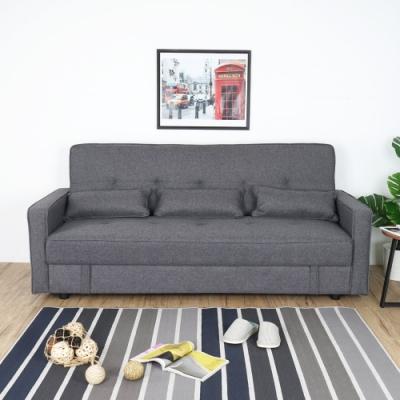 Homelike 卡納收納沙發床-深灰色