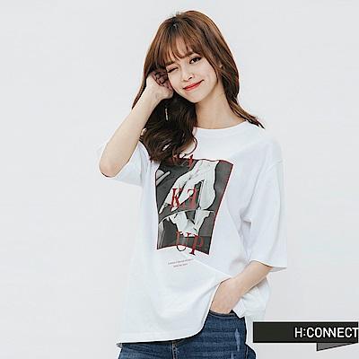 H:CONNECT 韓國品牌 女裝-情境圖像T-shirt-白