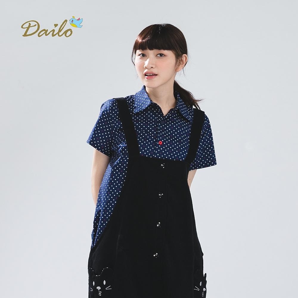 【Dailo】點點設計短袖-襯衫(黑)