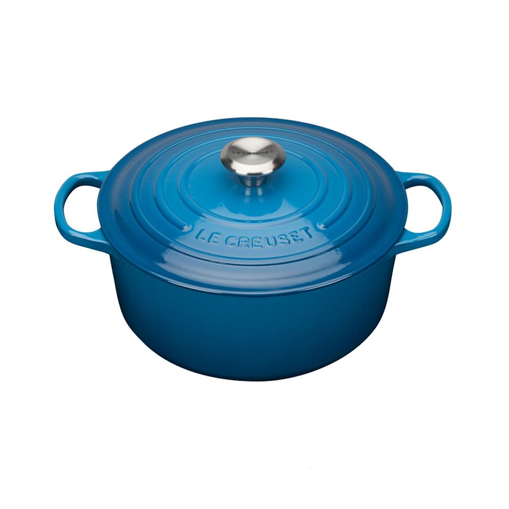 LE CREUSET琺瑯鑄鐵典藏圓鍋20cm-馬賽藍-鋼頭
