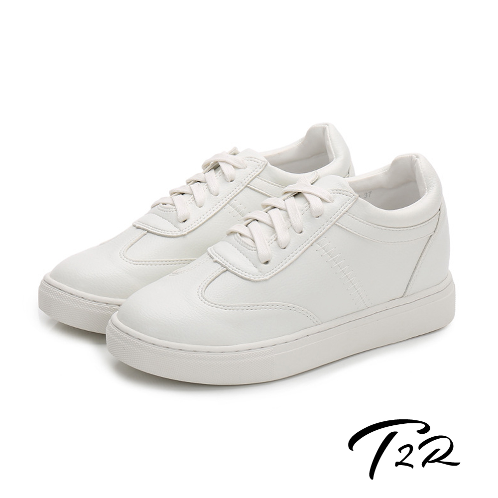 T2R-韓國空運隱形內增高7公分舒適綁帶休閒鞋-白色