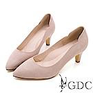 GDC-知性羊絨壓紋波浪邊尖頭跟鞋-粉膚色