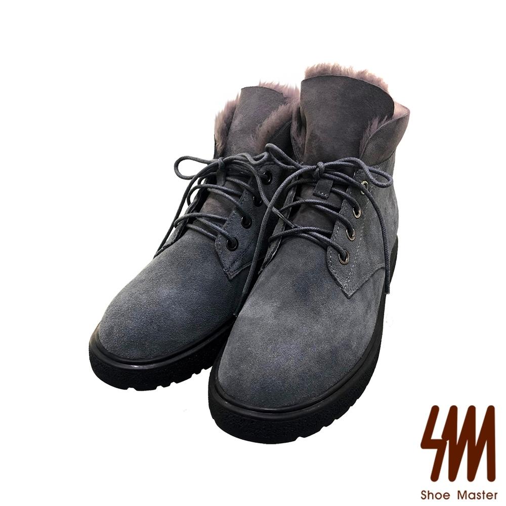 SM-英倫紳士風麂皮簡約絨毛短靴-灰色  (兩色)
