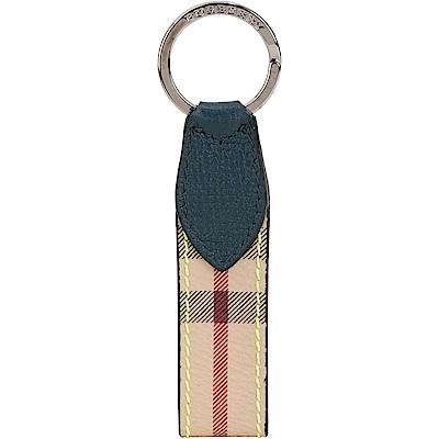 BURBERRY Haymarket 經典格紋鑰匙圈(藍綠色)