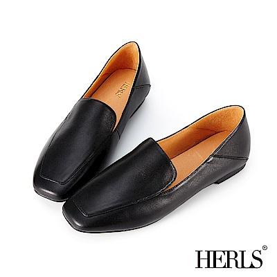 HERLS 漫步雲端 全真皮兩穿素面方頭樂福鞋-黑色