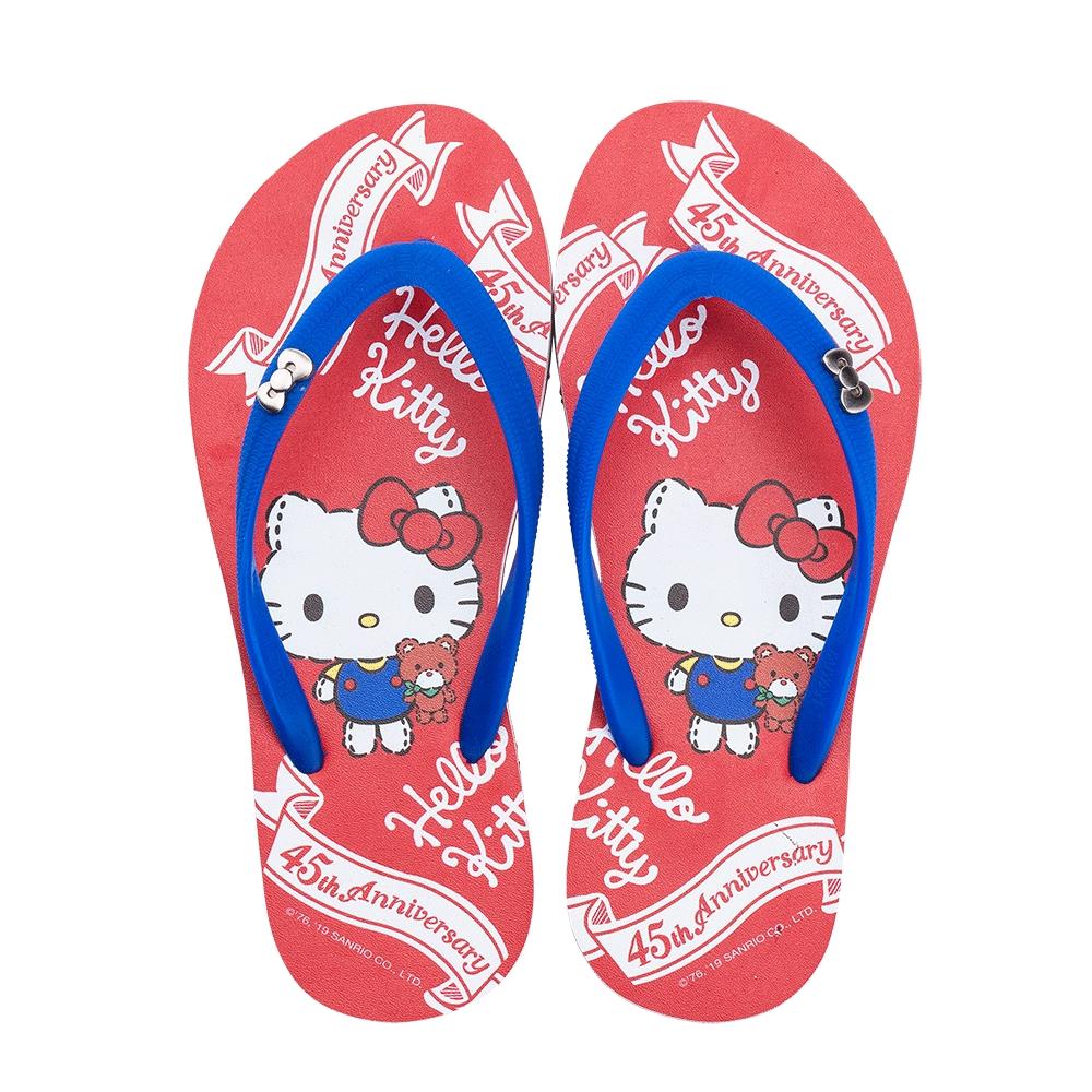 HELLO KITTY艾樂跑女鞋-45周年主題 夾腳拖鞋-紅(919123)