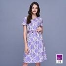 ILEY伊蕾 典雅牡丹緹花V領短袖洋裝(紫)