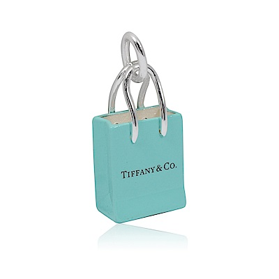 Tiffany&Co.品牌經典提袋造型 藍色琺瑯吊墜墜飾