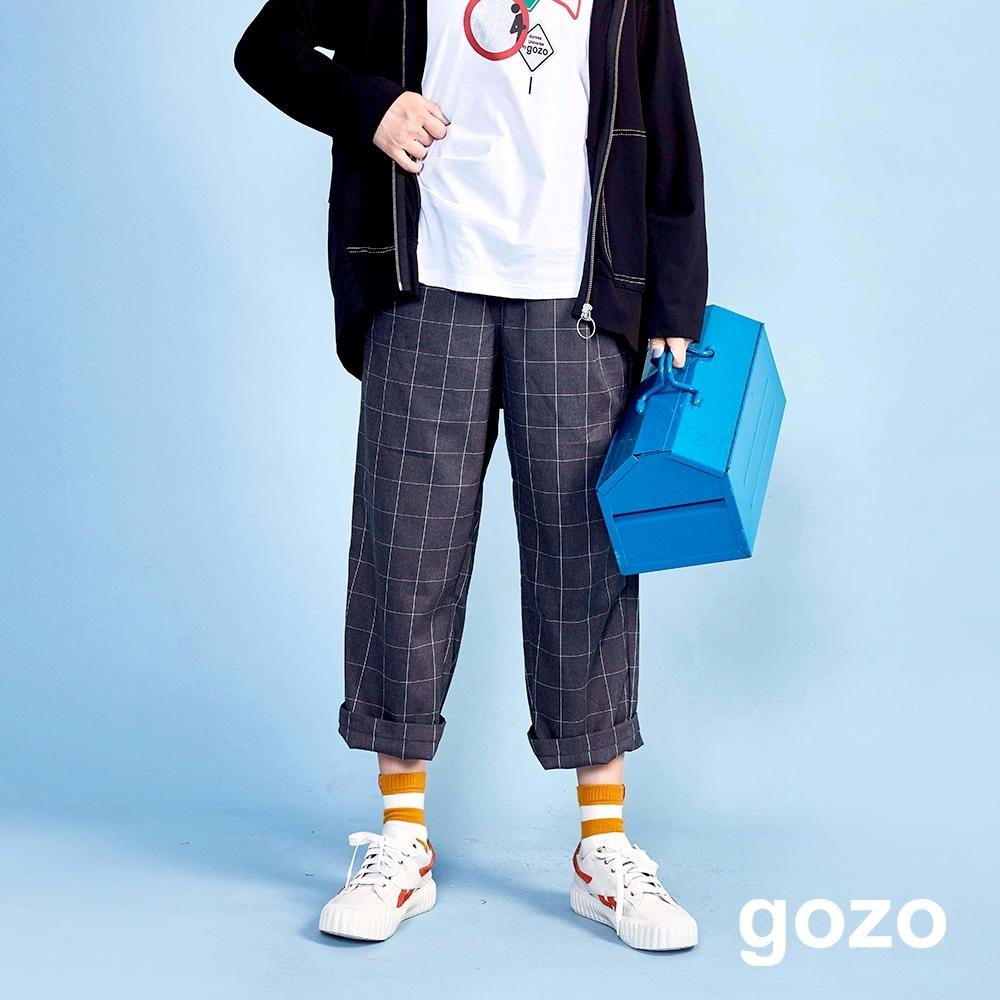 gozo 配色格紋鬆緊直筒褲(二色)