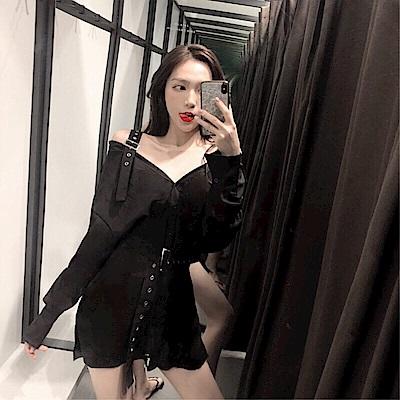 DABI 韓系鎖骨襯衫裙一字領復古長袖洋裝