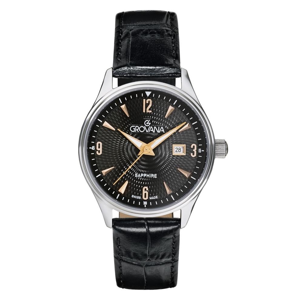 (福利品) GROVANA瑞士錶 經典系列石英女錶(3191.1527)-黑面x黑色皮帶/32mm