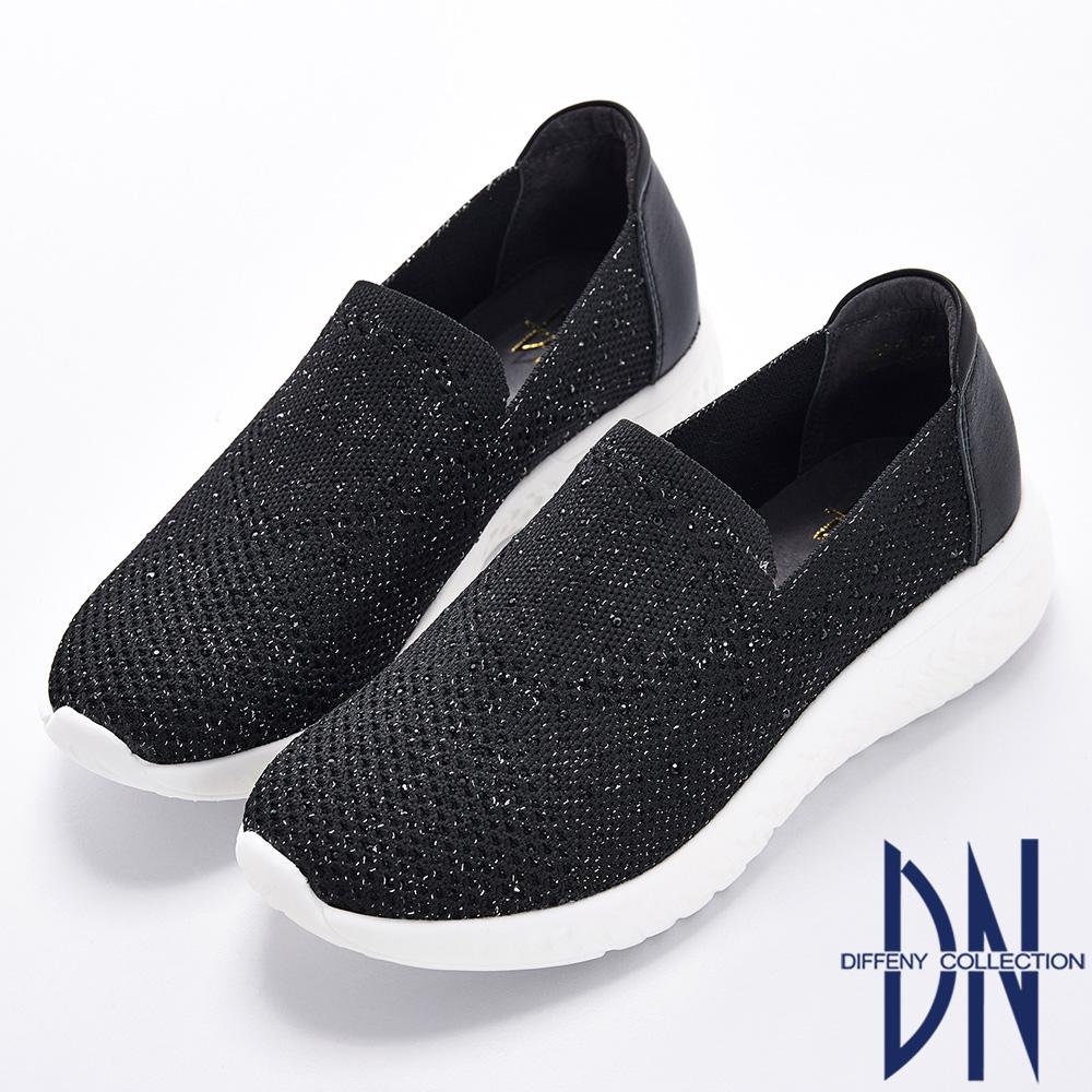 DN 悠遊夏日 針織水鑽拼接牛皮後跟彈力休閒鞋-黑