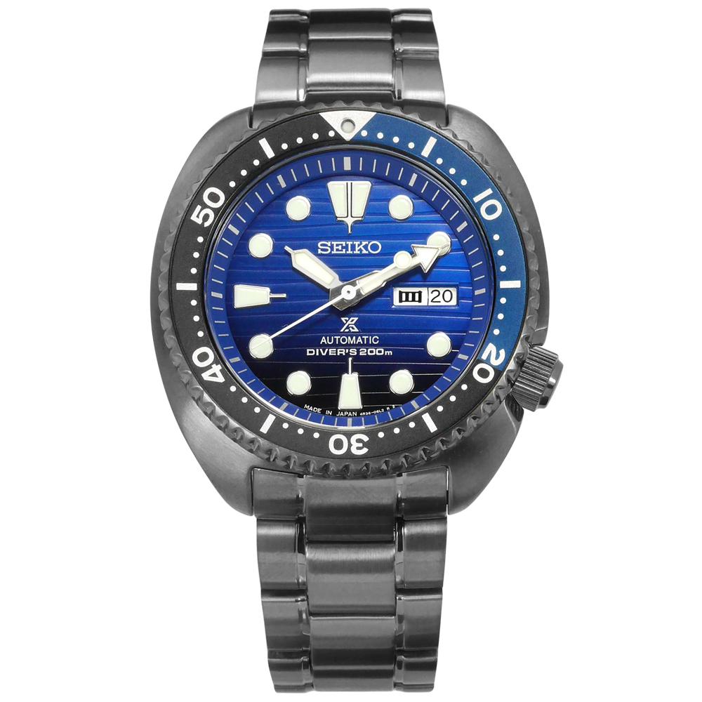 SEIKO 精工 PROSPEX 鮪魚罐頭 不鏽鋼潛水機械錶-藍x鍍灰/45mm