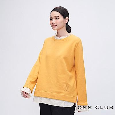 MOSS CLUB INLook 假兩件式小花瓣領前短後長上衣(黃色)