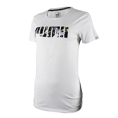 PUMA-女性基本系列花卉短袖T恤-白色-歐規