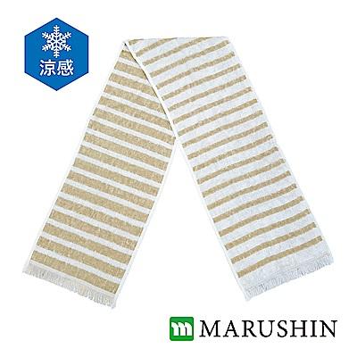日本丸真 Eco de COOL涼感運動毛巾-米色條紋