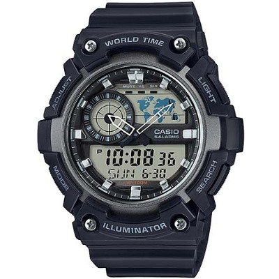 CASIO 世界地圖雙顯多功能腕錶-黑(AEQ-200W-1A)/51.4mm
