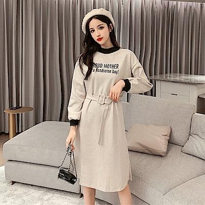 DABI 韓國風復古休閒字母腰帶長袖洋裝